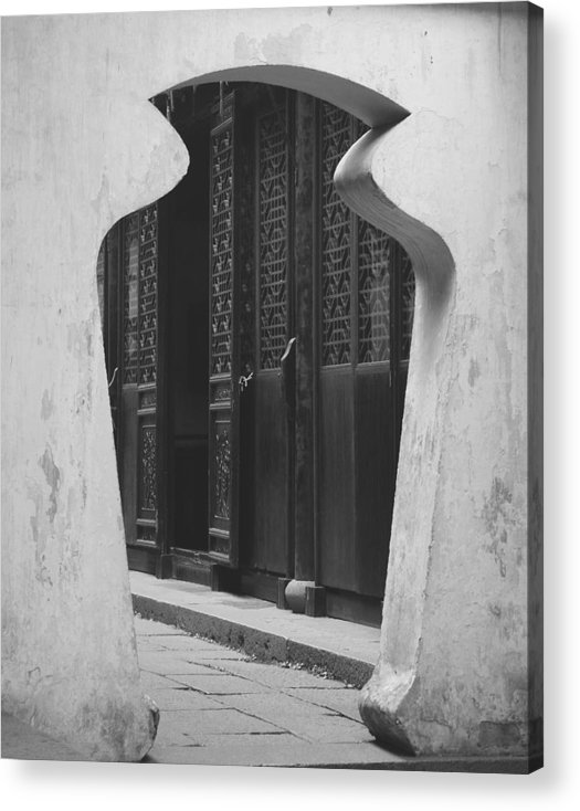 Doorway Acrylic Print featuring the photograph Doorway Black and White by Erika Lesnjak-Wenzel