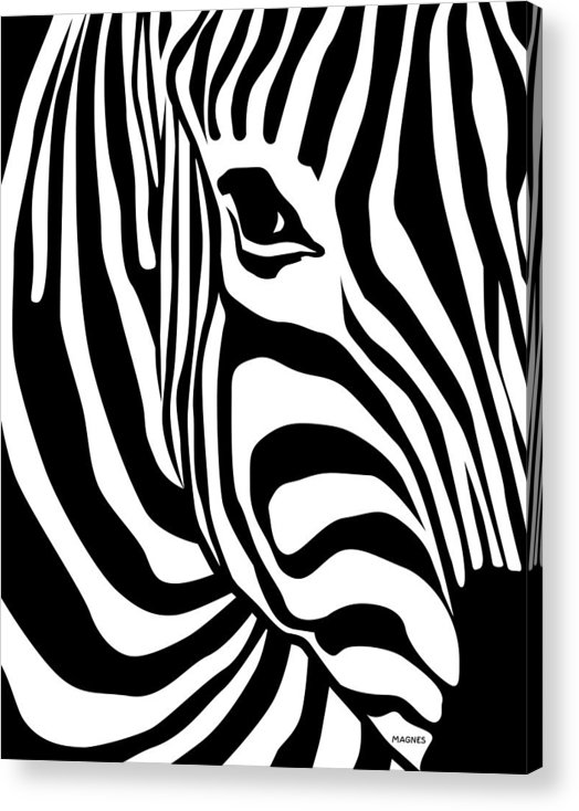 Zebra Acrylic Print featuring the digital art Zebra by Ron Magnes
