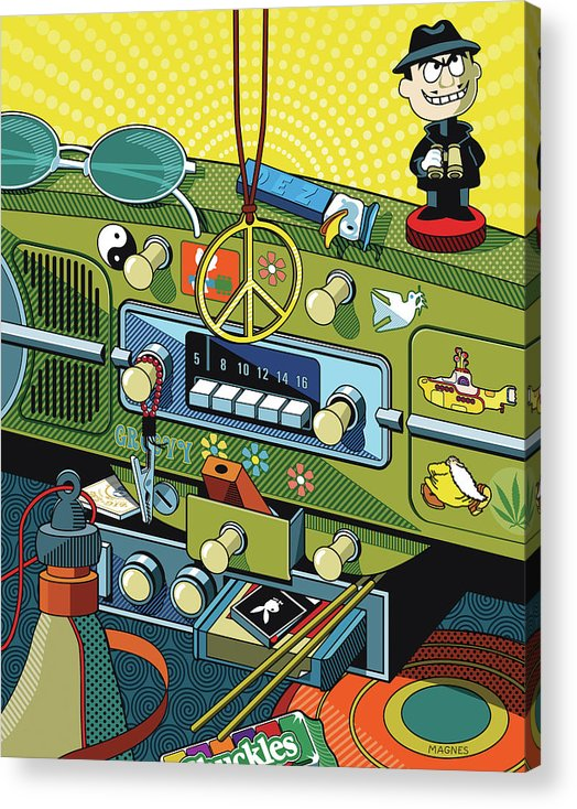 Sixties Acrylic Print featuring the digital art Road Trip '69 by Ron Magnes