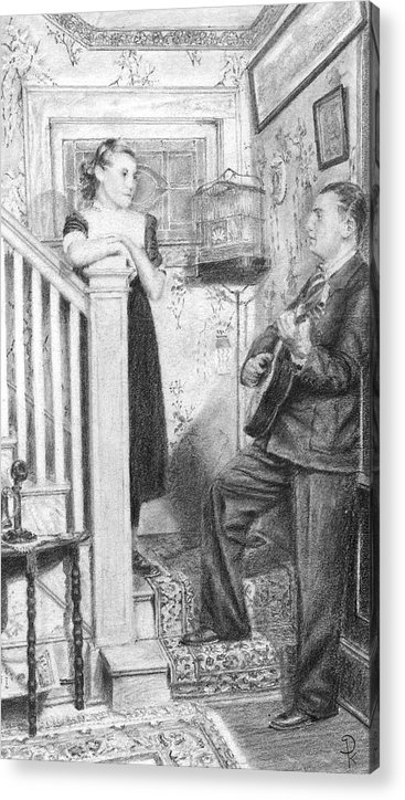 Grand Father Playing The Guitar For My Great Aunt Over 60 Acrylic Print featuring the drawing The Serenade by Douglas Kochanski
