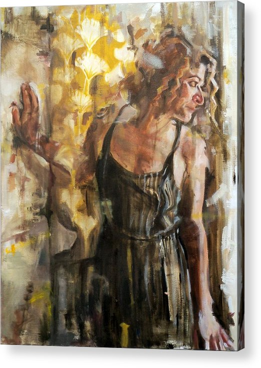 Woman Acrylic Print featuring the painting A Lyrical Dissolution by Sara Lightning