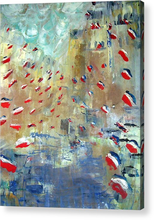 Patriotism Acrylic Print featuring the painting After Monet's Rue Montorgueil by Michela Akers