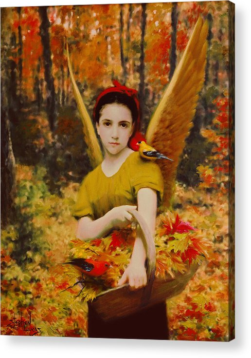 Angel Acrylic Print featuring the painting Autumn Angels by Stephen Lucas