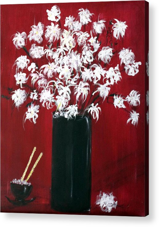 Still Life Acrylic Print featuring the painting Chrysanthemums And The Rice Bowl by Michela Akers
