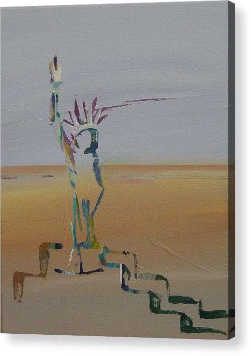 Statue Of Liberty Acrylic Print featuring the painting Desert Liberty by Kevan Krasnoff