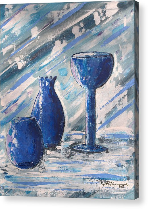 Vases Acrylic Print featuring the painting My Blue Vases by J R Seymour