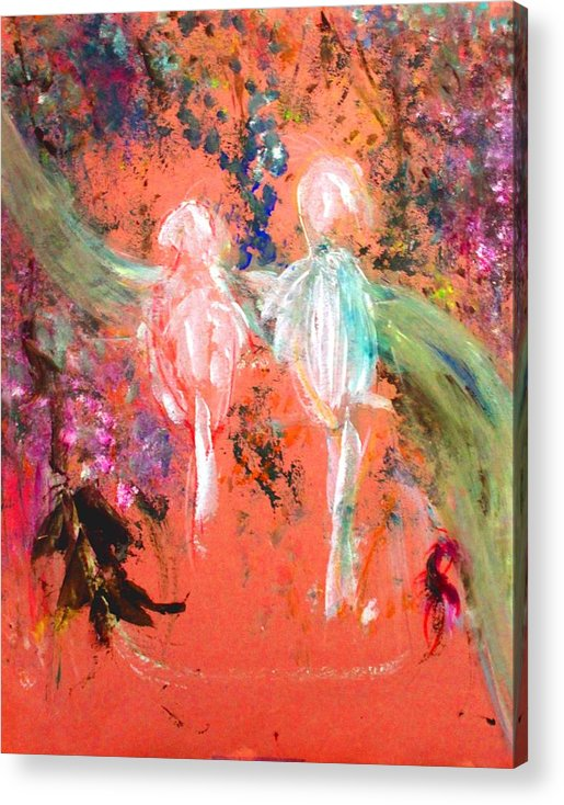 Abstract Acrylic Print featuring the painting Pastel Parrots In Abstraction by Michela Akers