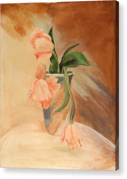 Floral Still Life Acrylic Print featuring the painting Peach Tulips by Betty Stevens