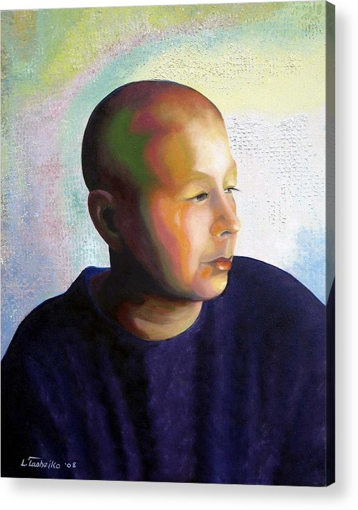 Breast Cancer Acrylic Print featuring the painting Self Portrait Mid-treatment by Laura Tasheiko