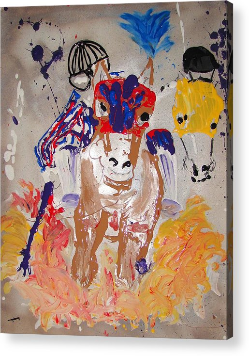 Horse Acrylic Print featuring the mixed media Taking The Lead by J R Seymour
