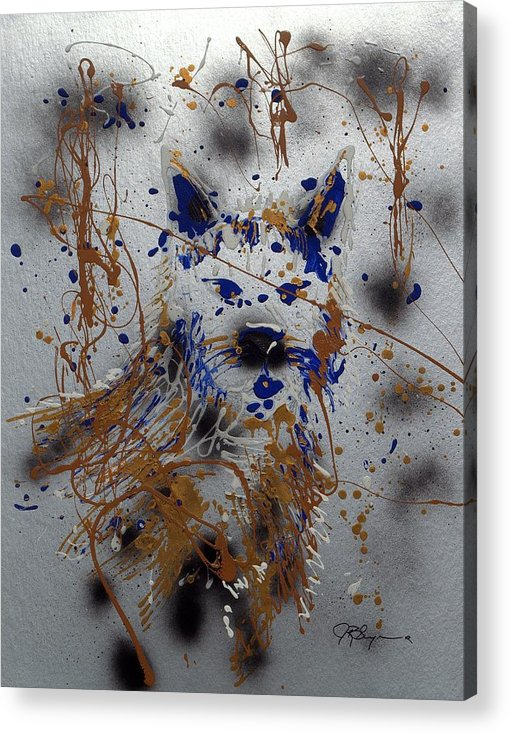 Wolf Acrylic Print featuring the mixed media The Lone Wolf Canis Lupus by J R Seymour