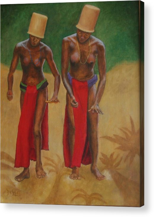 Oil Acrylic Print featuring the painting Tribal Dancers by Rf Hauver