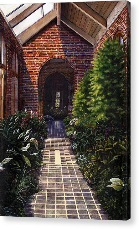 Greenhouse At Kingwood Center In Mansfield Ohio Acrylic Print featuring the painting Kingwood by Terri Meyer