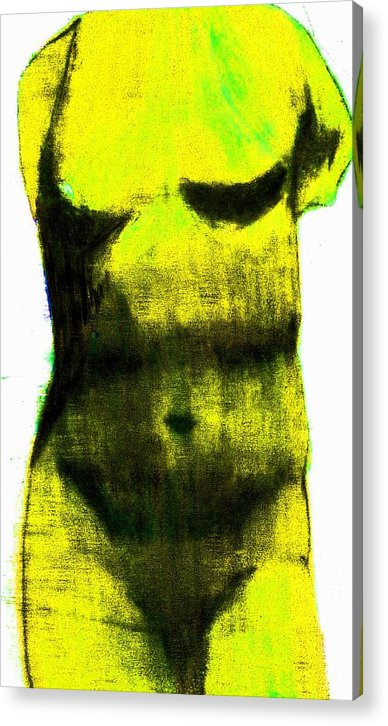 Yellow Acrylic Print featuring the drawing Yellow Aphrodite by Jennifer Ott