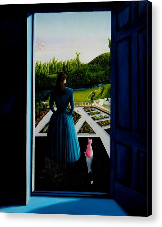 Oil Painting.blue Lady. Garden. Surreal Impressionism Acrylic Print featuring the painting Blue Lady Thru The Door by Ivan Rijhoff