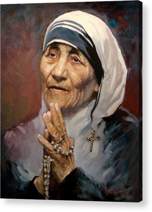 Mother Teresa Artwork Acrylic Print featuring the painting Mather Teresa by Ylli Haruni