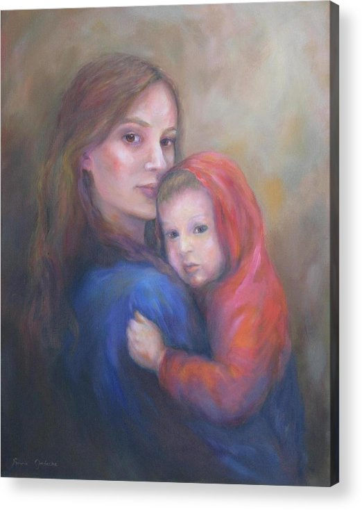 Portrait Acrylic Print featuring the painting A Moment In Time by Bonnie Goedecke