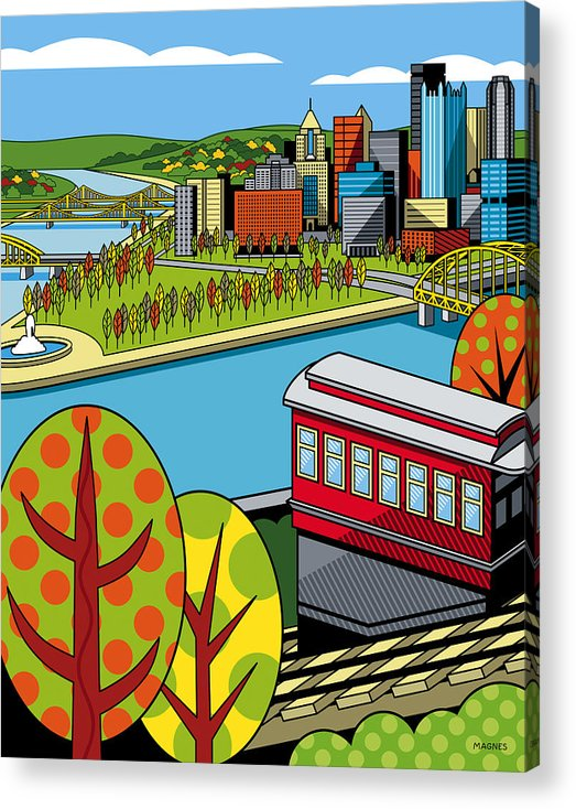 Pittsburgh Acrylic Print featuring the digital art Fall From Above II by Ron Magnes