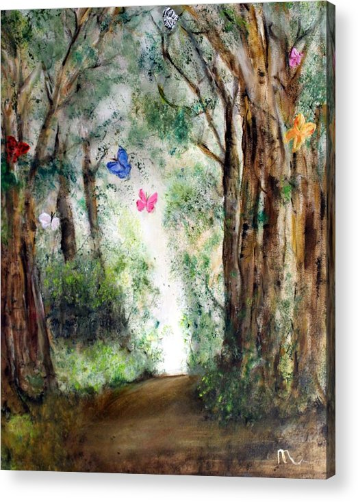 Landscape Acrylic Print featuring the painting Butterfly Forest by Michela Akers