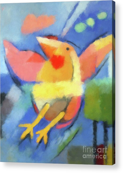 Bird Acrylic Print featuring the painting First Fly Digital by Lutz Baar