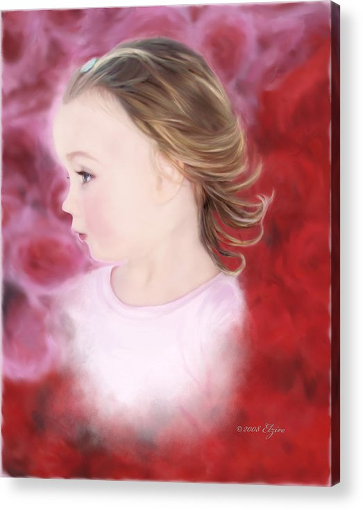 Little Girl Acrylic Print featuring the painting In The Pink by Elzire S