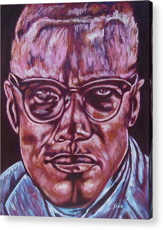 African Americam Acrylic Print featuring the painting Malcolm by Shahid Muqaddim