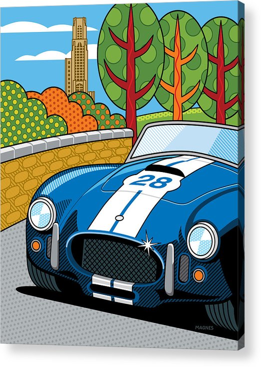 Graphic Acrylic Print featuring the digital art Pittsburgh Vintage Grand Prix by Ron Magnes
