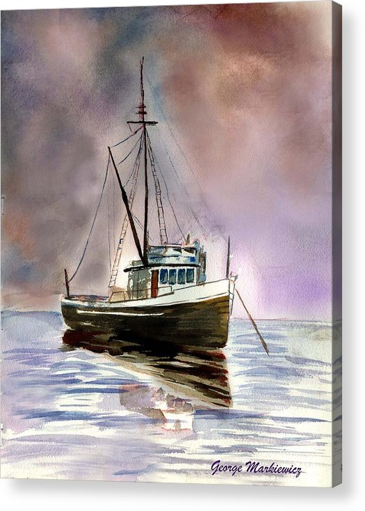 Ocean Boat Acrylic Print featuring the print Ship Stormy Weather by George Markiewicz