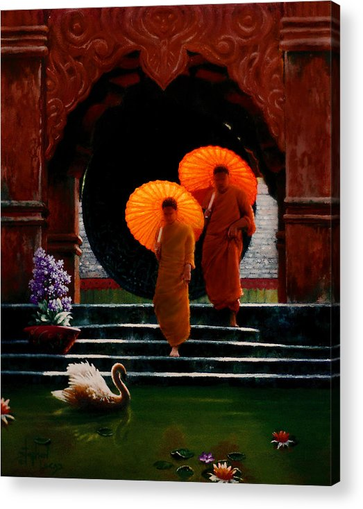 Oriental Acrylic Print featuring the painting Tangerine Parasols by Stephen Lucas