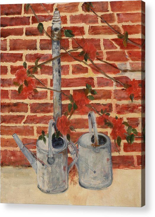 Still Life Acrylic Print featuring the painting The Watering Cans by Betty Stevens