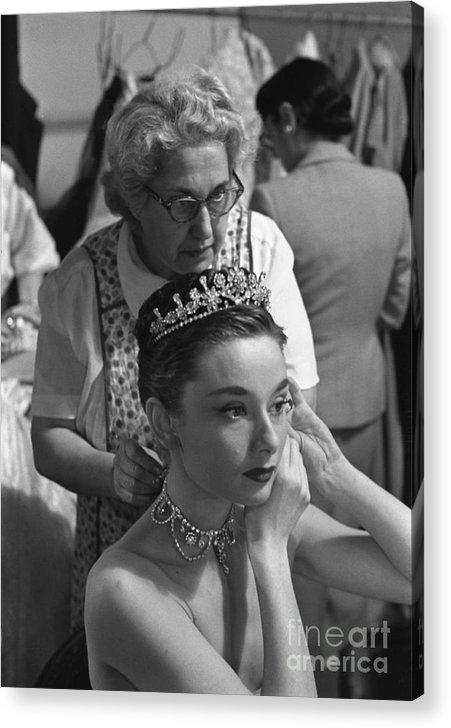 Audrey Hepburn Preparing For A Scene In Roman Holiday Acrylic Print