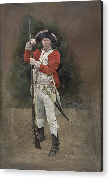 Redcoat Acrylic Print featuring the painting British Infantryman C.1777 by Chris Collingwood