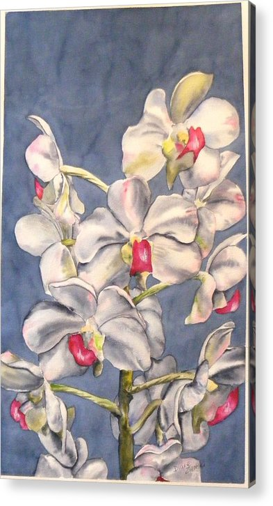 Floral Acrylic Print featuring the painting Orchids by Diane Ziemski
