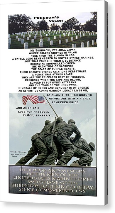 Poetry Acrylic Print featuring the mixed media Freedom's Valor by Patrick J Maloney