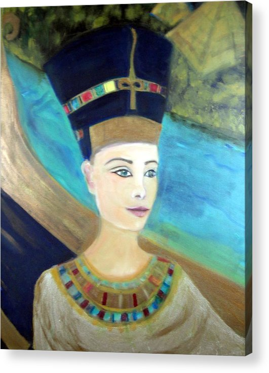 Egypt Acrylic Print featuring the painting From Darkness Sailed The Golden Barque by Michela Akers