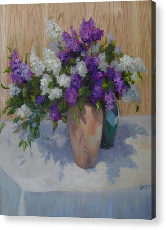 Lilacs Acrylic Print featuring the painting Lilacs by Patricia Kness