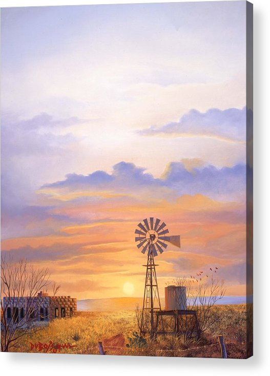 Windmill Acrylic Print featuring the painting West Texas Sundown by Howard Dubois