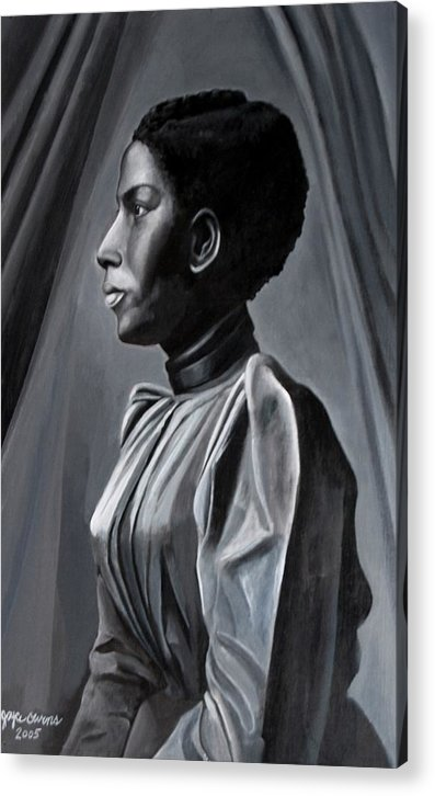 Figurative Acrylic Print featuring the painting Out Of The Box Woman In Shirtdress by Joyce Owens