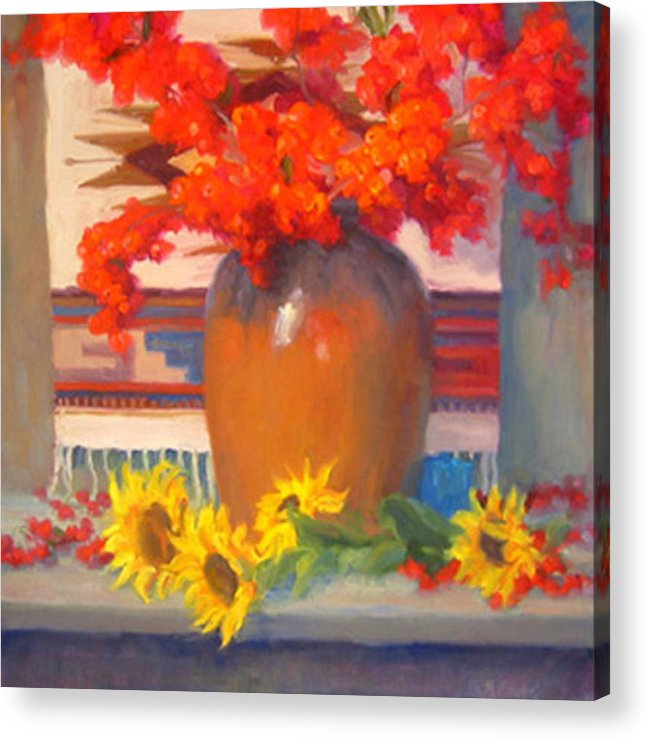 Still Life Acrylic Print featuring the painting Berry Bouquet by Bunny Oliver