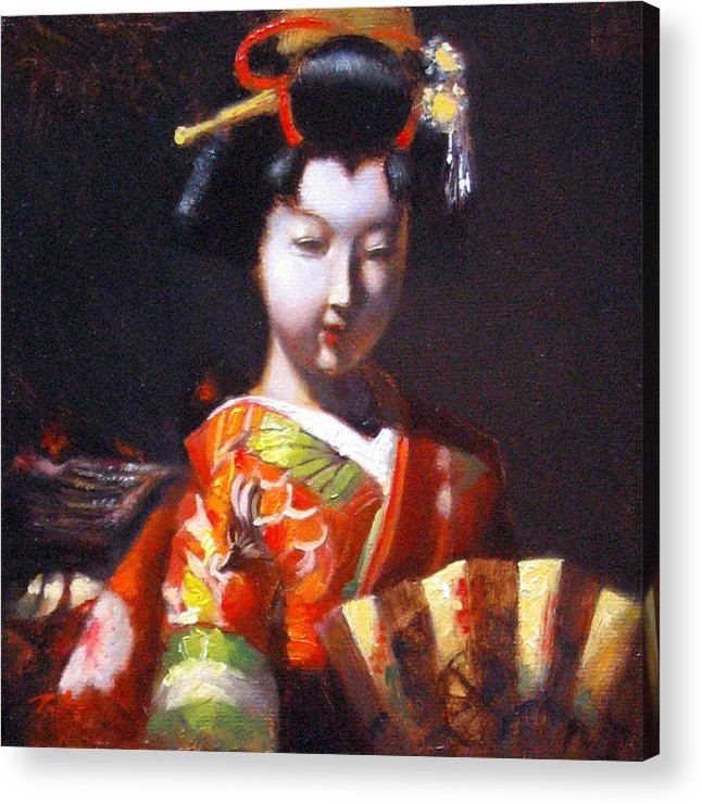 Geisha Acrylic Print featuring the painting Geisha With Golden Fan by Takayuki Harada