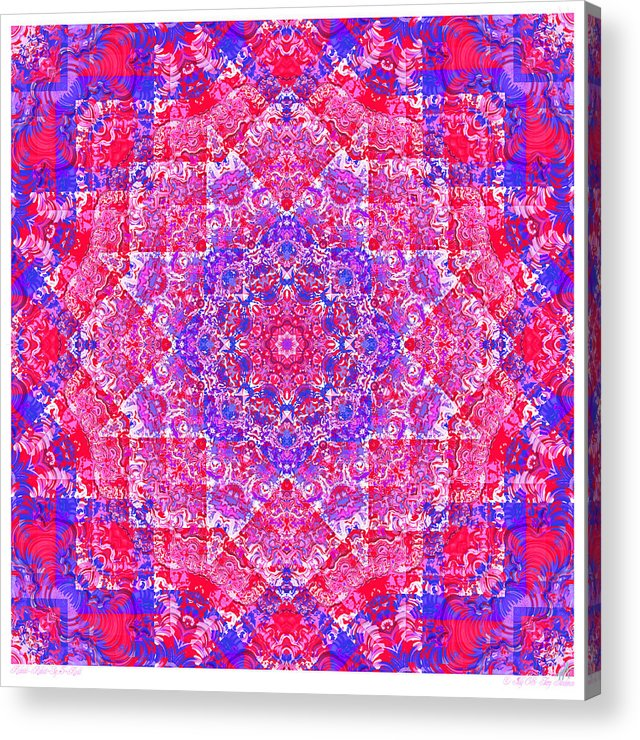 Kaleidoscope Acrylic Print featuring the digital art kaleido-Rubiat-3D Sq 53d Kwilt by Terry Anderson