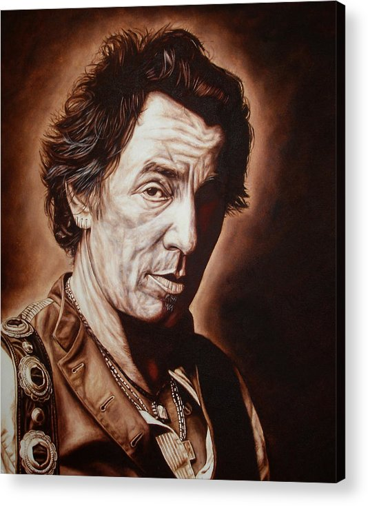 Bruce Springsteen Acrylic Print featuring the painting Bruce Springsteen by Mark Baker