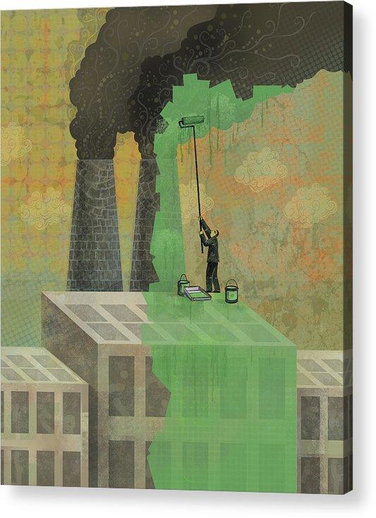 Acrylic Print featuring the digital art Greenwashing by Dennis Wunsch
