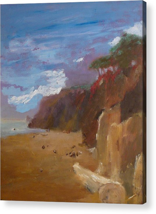 Sea Scape Acrylic Print featuring the painting Beach In Santa Barbara by Irena Jablonski