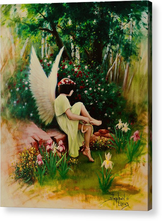 Angel Acrylic Print featuring the painting Beltaine Angel by Stephen Lucas
