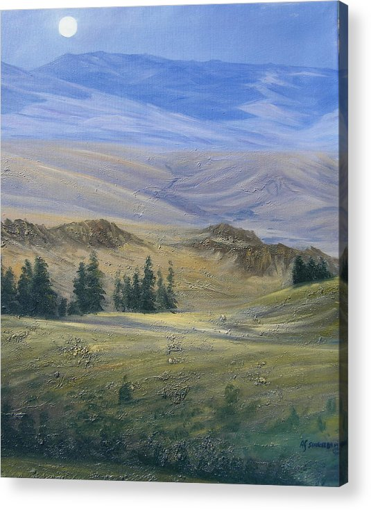 Landscape Acrylic Print featuring the painting Evening Near Kamloops by Imagine Art Works Studio