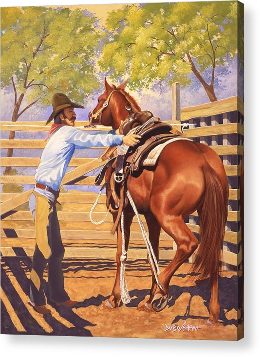 Cowboy Acrylic Print featuring the painting First Saddling by Howard Dubois