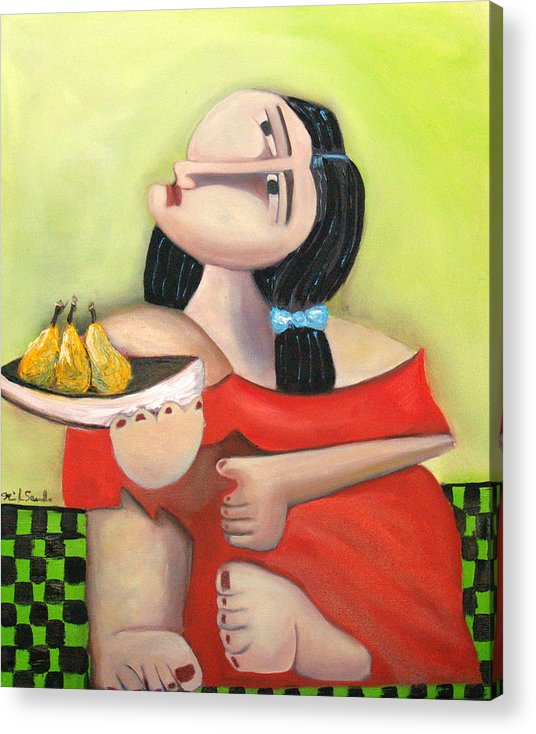 Cubist Cubism Pears Fruit Feet Girl Green Lime Figurative Acrylic Print featuring the painting Nouna by Niki Sands