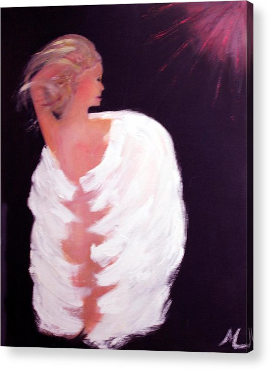 Angel Religious Devotional Cosmic New Age Acrylic Print featuring the painting Primal by Michela Akers
