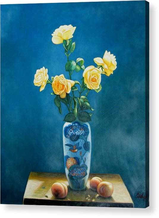 Still Life Flowers Acrylic Print featuring the painting Roses And Peaches by Imagine Art Works Studio